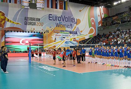 Installation of volleyball field for The 2017 Women's European Volleyball Championship