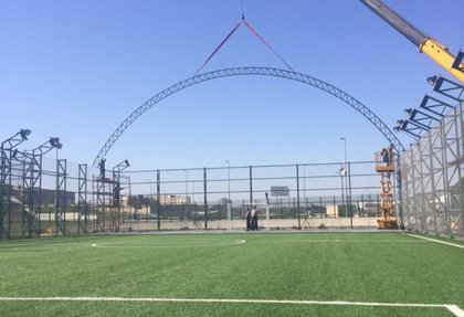Replacement of outdoor mini soccer field into indoor version on the Olympic Stadium